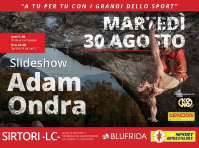 """ADAM ONDRA """"SLIDESHOW – LIFE OF A CLIMBER"""" 30 Agosto"""