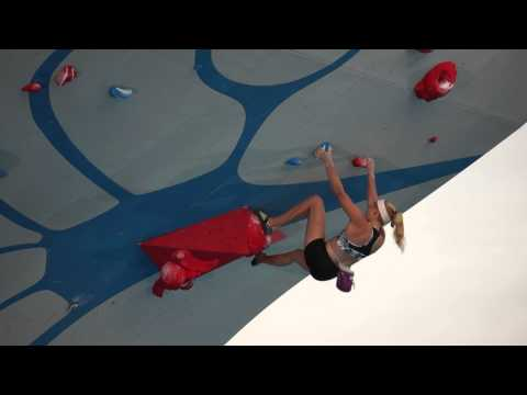 Andrea Szekely and Sasha DiGiulian climb at the Psicocomp 2014