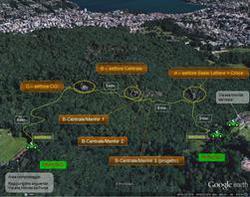 Visione aerea tramite Google Earth della falesia di Vezia-Porza, nel luganese - g.poretti