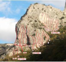 Vista della parete con vie - Marco Casi - PDF Le Rocche