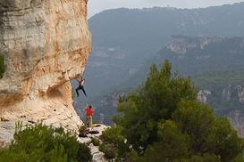 A nice little shot of someone climbing at Siurana, Rodellar, Spain - Travel blog