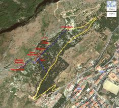 Accesso e mappa dei settori di Stilo. - Google Map elaborata da Luigi Filocamo