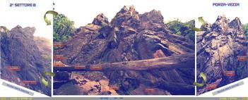 settore B che ha subito un implemento di vie notevole, e la chiodatura di diverse vie sul settimo grado, ottima vista sulla pianura del Vedeggio e la foresta di castagni in direzione delle montagne a nord - g.poretti